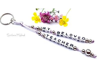 Breloque Porte Clés Personnalisé avec message MY BELOVED TEACHER (réversible)