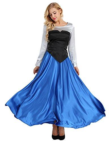 Meerjungfrau Damen Kostüm Kleine - Agoky Damen 3 PCS Kleine Meerjungfrau Ariel Cosplay Kostüm Prinzessin Party Kleid Halloween Faschingskostüm Verkleidung Blau XL