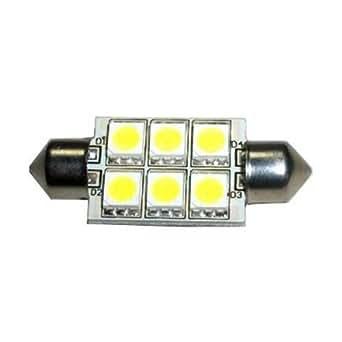 HQRP Ampoule Navette 37mm Haute Puissance 6 LEDs SMD 5050 6000K 10-30V DC 1.5W 107 Lumen pour 3423 DE3423 3425 DE3425