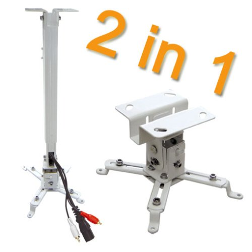 Electronic-Star PRB-2 • Universal Beamer Deckenhalter • Universal Projektor Deckenhalterung • 2 in 1 • variabler Deckenabstand • universell einsetzbar • 20 kg max. Tragkraft • stabil • weiß