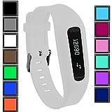 Bracelet DelTex avec fermeture à boucle réglable sécurisée pour montre d'activité Fitbit One, blanc