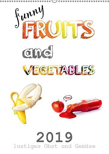 funny FRUITS and VEGETABLES - lustiges Obst und Gemüse (Wandkalender 2019 DIN A2 hoch): Obst und Gemüse zeigen sich von ihrer lustigen Seite. (Monatskalender, 14 Seiten ) (CALVENDO Lifestyle) - Gurke Pflaumen