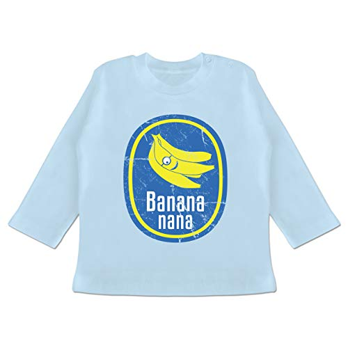 Up to Date Baby - Banana Nana Vintage - 3-6 Monate - Babyblau - BZ11 - Baby T-Shirt Langarm -