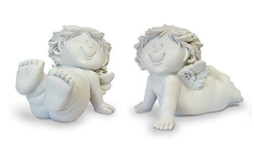 2 statuette decorative a forma di angelo custode, angeli bambini, sdraiati, set da 9,5 cm, in poliresina color bianco crema