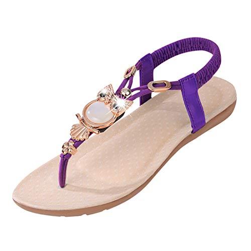 T-strap Flats Schuhe (Vertvie Women's Beads Owl Flat Bohemia T-Strap Elastic Slingback Thong Sandals(UK 6.5/Tag 41, Purple))