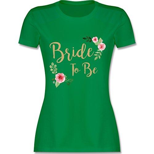 Shirtracer JGA Junggesellinnenabschied - Bride to Be - Damen T-Shirt Rundhals Grün