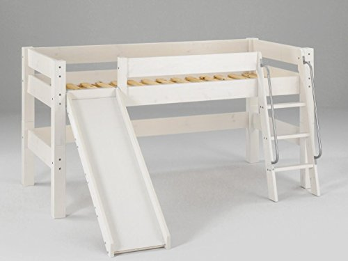Dolphin Furniture halbhohes Moby Kinderbett mit Rutsche und Leiter Kiefer massiv, Farbton:Weiß