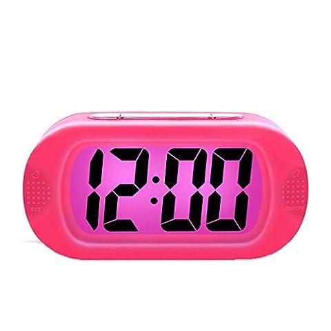 Liying Neu Digitalwecker LED Wecker Reisewecker mit Zeitanzeige groß display Pink