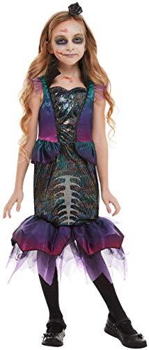 Fancy Ole - Mädchen Girl Kinder Dark Mermaid Horror Meerjungfrau im Skelett Look Kostüm, Kleid mit Haarschmuck, perfekt für Halloween Karneval und Fasching, 140-152, ()