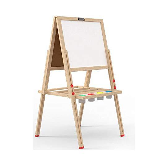 Chevalet de peinture d'art pour enfants Planche à dessin magnétique en bois for enfants à double face Chevalet Echafaudage travail en bois massif Tablette 40 * 34cm Chevalet d'apprentissage éducatif a