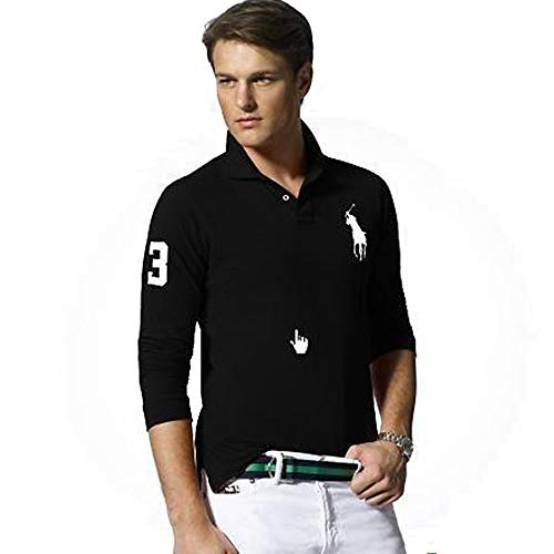 Ralph Lauren Langarm Poloshirt Big Pony Custom Fit (L, Schwarz)