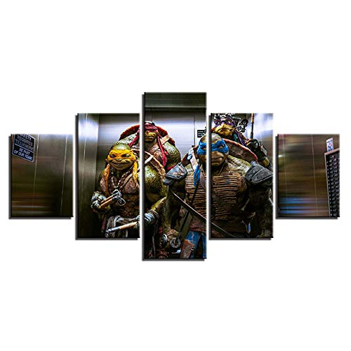 SHANYUR Bilder Vlies Leinwandbild Kunstdruck modern Wandbilder Wanddekoration Design Wand Bild 5 Teilig Teenage Mutant Ninja Turtle 55/45/35x20(cm) with Frames