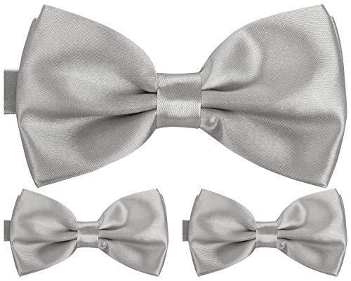 BomGuard Fliege für Herren silber I Männer Fliege für Hochzeit, Party oder edele Anlässe I Trendy Bow Tie I 3er Set Schleifen