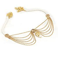 Project Luxe Beautiful Traditional Kamarband for Women and Girls - Waist Hip Chain with Gold Color Crystals & White…