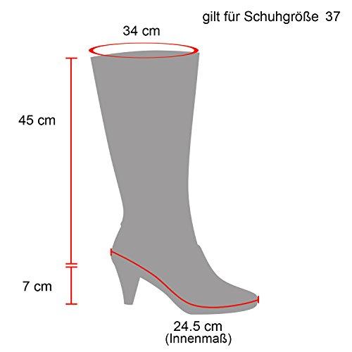 Stiefelparadies Damen Stiefel Overknees Wildleder-Optik Blockabsatz Schuhe Langschaftstiefel Boots Schleifen Flandell Schwarz Camiri Bernice