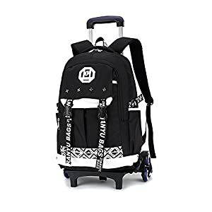 Bupin Kids Trolley Backpack, Waterproof School Bag Large Wheeled Removable for Teenager Boys Girls