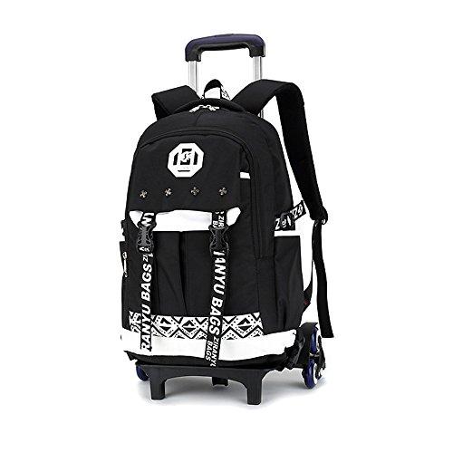 Bupin scuola borsa, tre ruote leva borsa, zaino estraibile per i bambini e scolari, mitigatore di st (bianca)