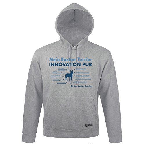Boston Terrier Kapuzen Sweatshirt (Siviwonder Unisex Kapuzen Sweatshirt INNOVATION BOSTON TERRIER Teileliste heather grey 3XL)