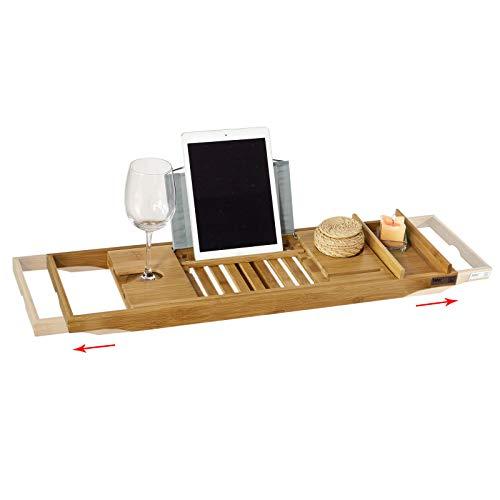 SoBuy FRG207-N Badewannenablage aus Bambus Badewannenbrett mit Buchstütze, Wein Glashalter und...