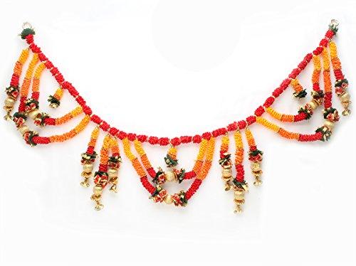 Store Indya Traditionelle Wand Tür hängen Toran mit Perlen und Pompon Diwali Dekoration Geschenk Ideen (Halloween Party Ideen Eingang)