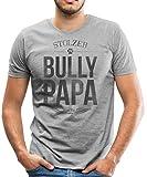 Spreadshirt Stolzer Bully Papa Bulldogge Herrchen Männer Premium T-Shirt, L, Grau meliert