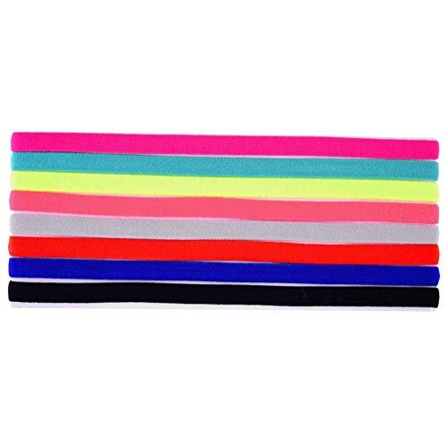 Lystaii 8 Stück Sport Stirnband Elastische Anti-Rutsch Haarbänder Schweißbänder zum Joggen Laufen Yoga Workout Fitness
