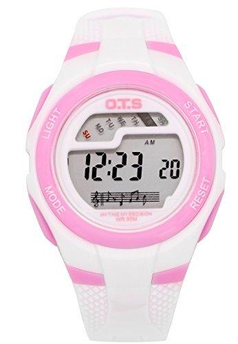 OTS - Reloj Digital Deportivo Impermeable con Alarma Luminoso de Cuarzo Cronómetro para Niños Niñas y Estudiantes - Color Blanco