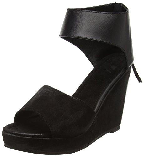 Black Lily Nila Wedge Sandal, Sandales ouvertes à talon compensé femme Noir - Noir