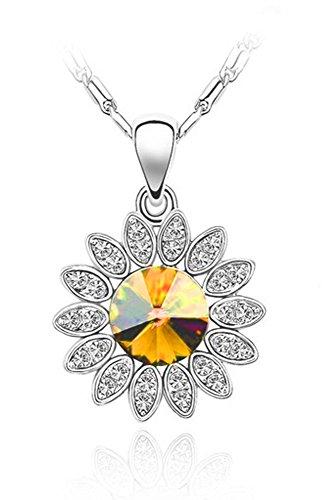 Signore-Signori SWAROVSKI ELEMENTS Sonnenblumen Fashion Halskette gemacht mit Austrian Kristal