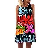 MOMOXI Vestido para Las Mujeres, Vestido sin Mangas con Estampado Floral en la Playa de Verano de A sin Mangas de Las Mujeres Mujer Vestido Elegante Algodón Corto Casual Gasa Lazo Redondo Largas