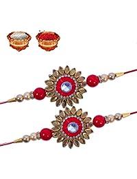 Tonkwalas Non-Precious Metal Multicolour Kundan Design Rakhi for Brother, Free Size - Set of 2