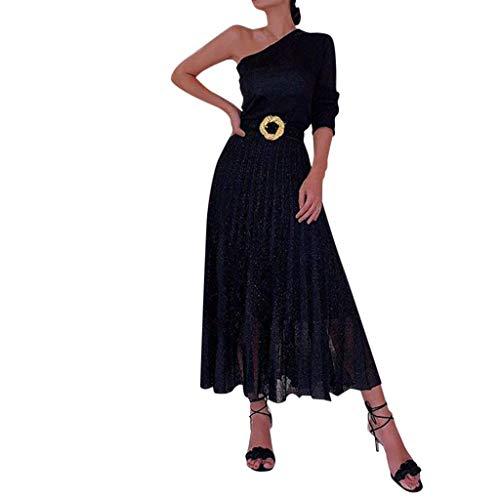 catmoew Sexy Damen Eine Schulter Lange Ärmel Hüftkleid Funkelnd Helle Seide Party Kleid Bodycon Trägerlos Schlitz Abend Falten Midi-Kleid