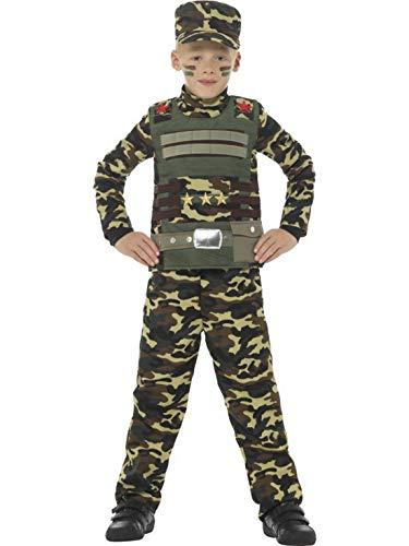 Kid Kostüm Soldier - Luxuspiraten - Jungen Kinder Camouflage Militär Armee Boy Soldat Soldier Kämpfer Kostüm mit Oberteil, Hose und Hut, perfekt für Karneval, Fasching und Fastnacht, 140-152, Grün