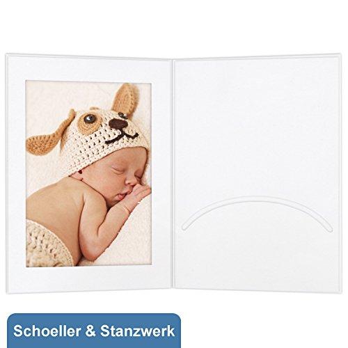 100 Stück Portraitmappen mit Passepartout und Einsteckschlitz für 10x15 cm Fotos - weiß matt- Kwick - Schoeller & Stanzwerk
