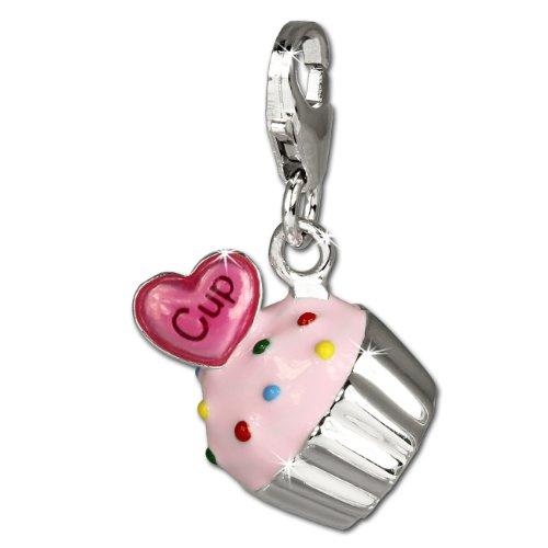 SilberDream Charm 925 Echt Silber Anhänger rosa Kuchen Cupcake FC679
