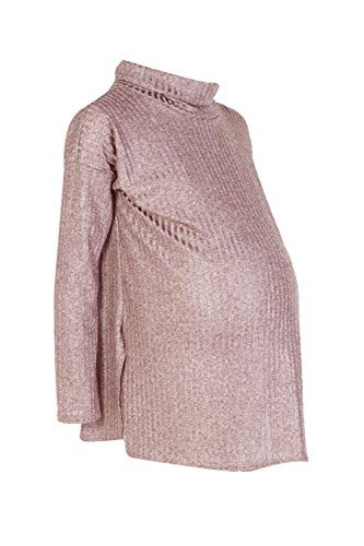 Or Femmes Maternity Ivy Metallic Roll Neck Jumper Or