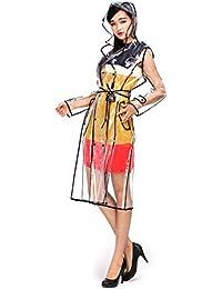 Dopobo Mode Imperméable avec Capuche , Transparent Manteau de Pluie Imperméable avec une Ceinture pour les Fille ou Femme