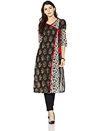Pink By Juniper Women's Asymmetrical Hemline Cotton Kurta (5337A_Black_Large)