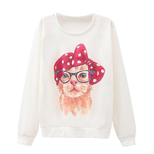 Mädchen Hübsch Rote Punkte Bowknot Katze Mit Brille Pullover (Brillen Katze)
