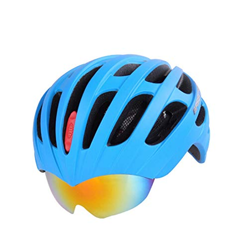 OLEEKA Fahrradhelm, MTB Rennrad Fahrradhelm Brille Goggles, LED-Licht Männer Frauen Teeanger Schwarz Blau Rot Cooler Helm