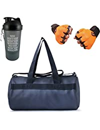 VELLORA Leather Soft Gym Bag (Black) With Sport Sipper Water Bottle And Orange Color Gloves