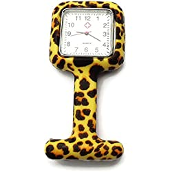 QBD Nurses Fashion Coloured Patterned Silicon Rubber Fob Watches - SQUARE Leopard