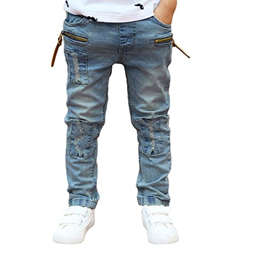 Clode® For 3-11 Years Boys, The Boy Zipper Stretch Slim Pale Denim Trousers Pants (8-9 Years)