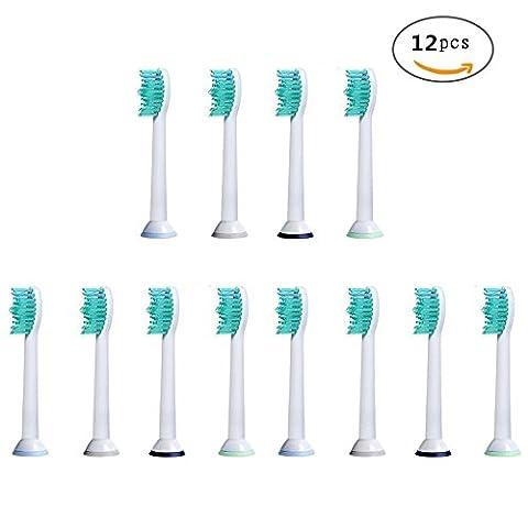 U-Prime® Ersatz Aufsteckbürsten,kompatibel mit Philips Sonicare ProResults HX6014 Aufsteckbürsten Standard(für elektrische Zahnbürsten),12 Stück(