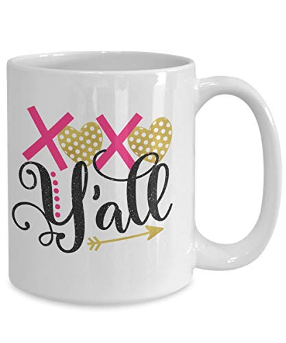 ZonaloDutt Valentinstag Kaffeetasse XO Yall s¨¹dlichen Tee Tasse Keramik Becher lustige Becher Kaffeetasse