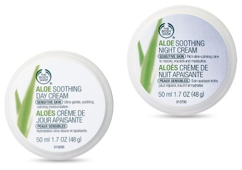 Die Body Shop Aloe Tagescreme Beruhigende 50ml + Die Body Shop Aloe Beruhigende Nachtcreme 50ml Für Empfindliche Haut/ The Body Shop Aloe Soothing Day Cream 50ml + The Body Shop Aloe Soothing Night Cream FOR SENSITIVE SKIN -