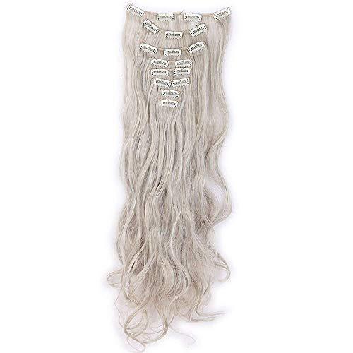 Extension clip capelli biondi grigi sintetici mossi lunghi 60cm full head clip in hair extensions 8 ciocche - biondo chiaro mix grigio argento
