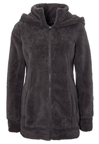 SUBLEVEL Damen Teddy-Fleece Mantel | Kuscheliger Langer Fleecemantel mit hohem Kragen brown L