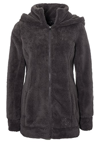Sublevel Damen Teddy-Fleece Mantel | Kuscheliger Langer Fleecemantel mit Hohem Kragen Brown XS