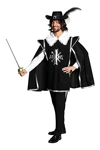 Karneval Klamotten Musketier-Kostüm Herren schwarz-silber Karneval Fasching Herrenkostüm Größe 58